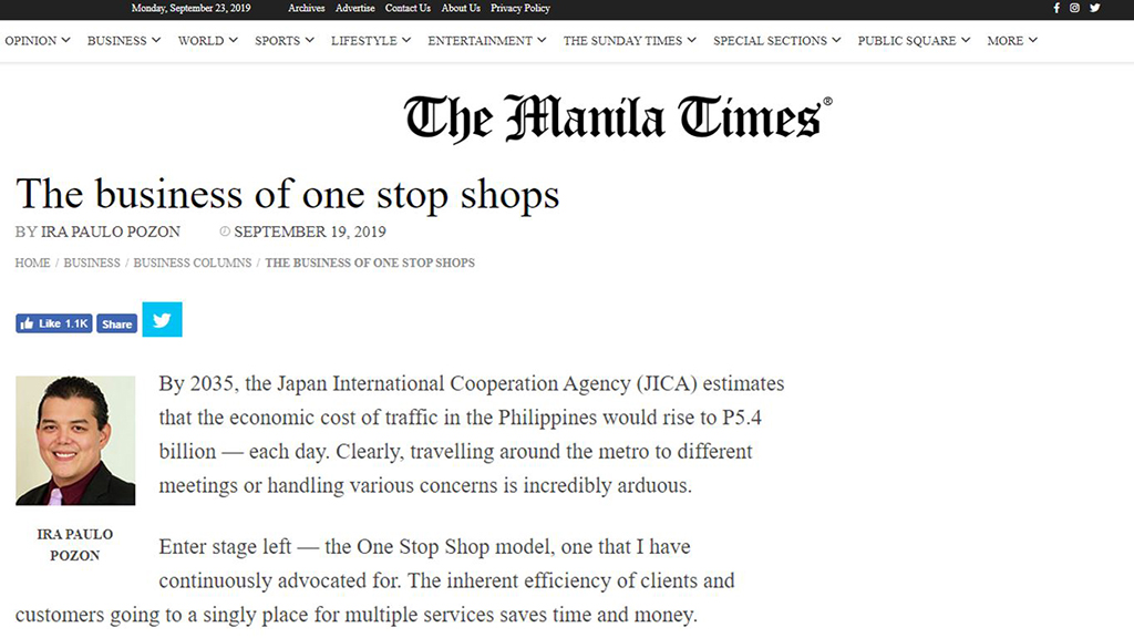 Op-ed I TheManila Times article on the business of one stop shops I Ira Paulo Pozon, 2018 AsiaGlobal Fellow